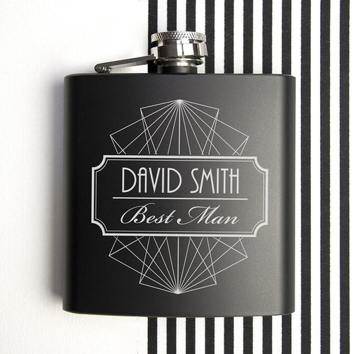 Hip Flask - Best Man Thank You Black Matte Hip Flask
