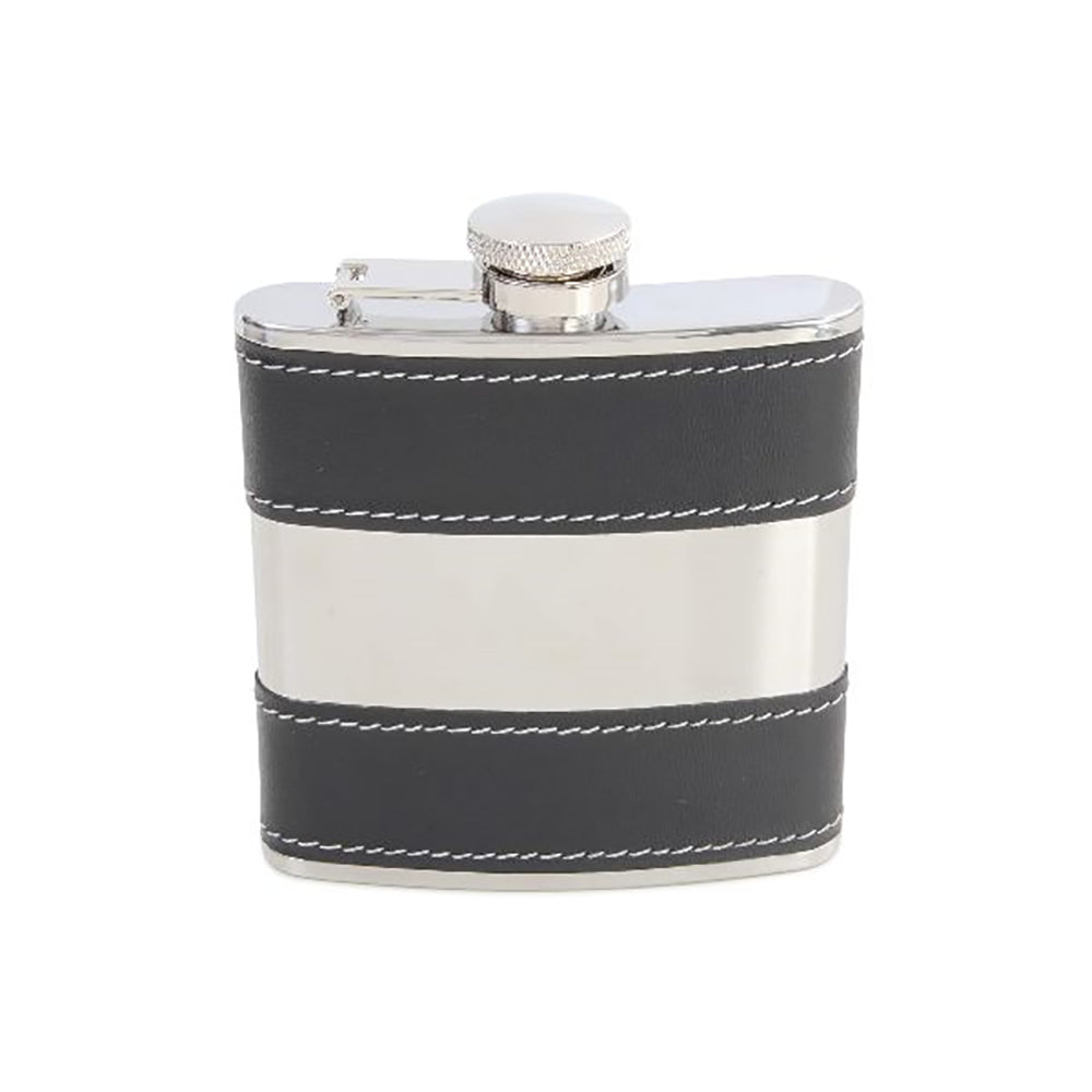 Hip Flask - Black Faux Leather Stripe Hip Flask