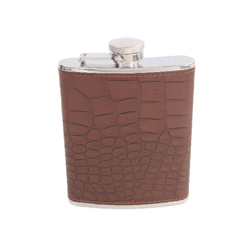 Hip Flask - Brown Faux Crocodile Skin Hip Flask
