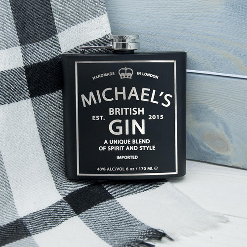 Hip Flask - Matte Black British Gin Vintage Hip Flask