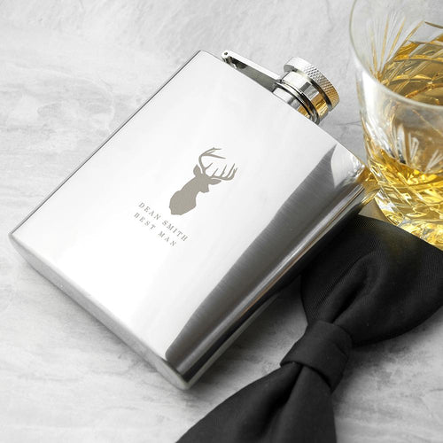 Hip Flask - Stag Design Hip Flask