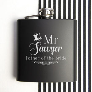 Hip Flask - Wedding Party Personalised Black Matte Hip Flask
