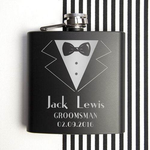 Hip Flask - Wedding Party Suit Black Matte Hip Flask