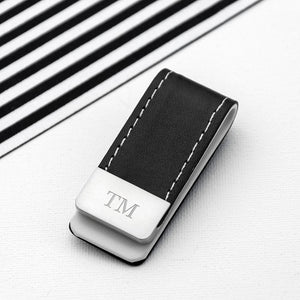 Money Clip - Black Leather Money Clip
