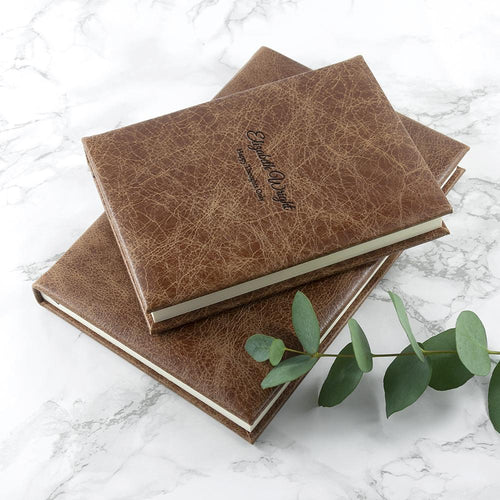 Notebook - Engraved Natural Tan Leather Notebook