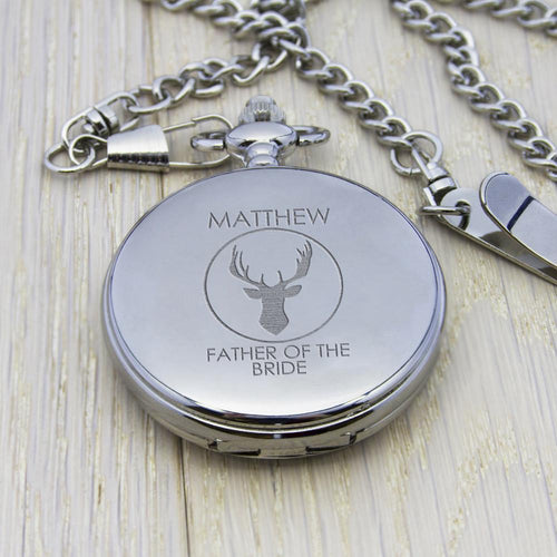 Pocket Watch - Personalised Stag Design Pocket Watch
