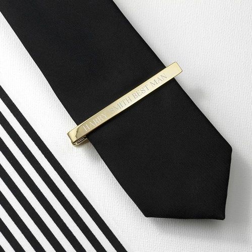 Tie Clip - Personalised Tie Clip - Gold Or Rhodium Plated