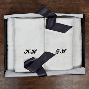 Towels - Couples Monogrammed Luxury Bath Towel Set
