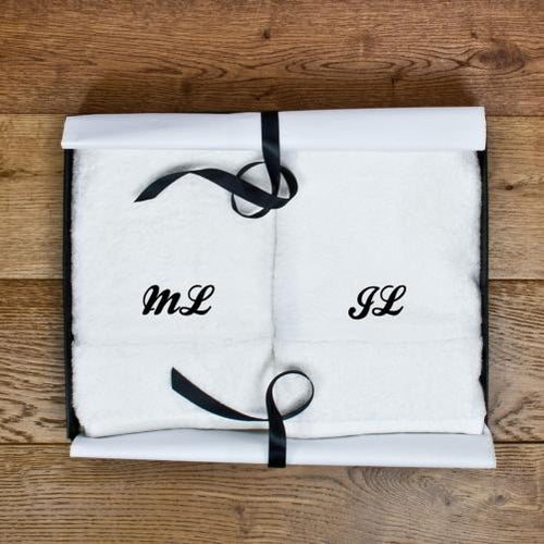 Towels - Luxury Monogrammed Hand Towels - Set Of Two