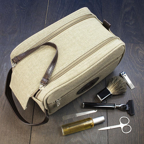 Wash Bag - Canvas Double Zipped Wash Bag