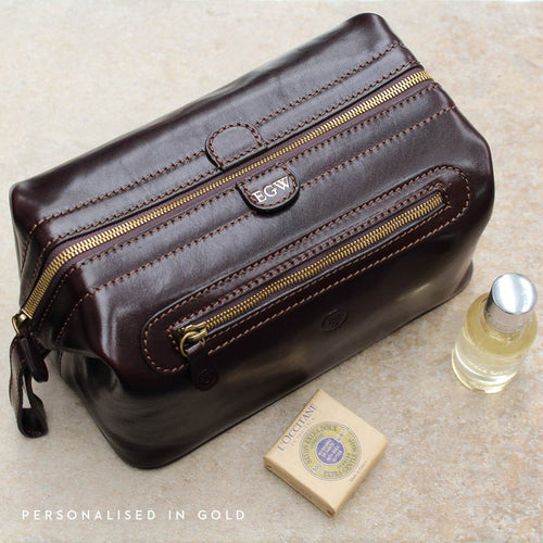 Wash Bag - Large Italian Leather Wash Bag