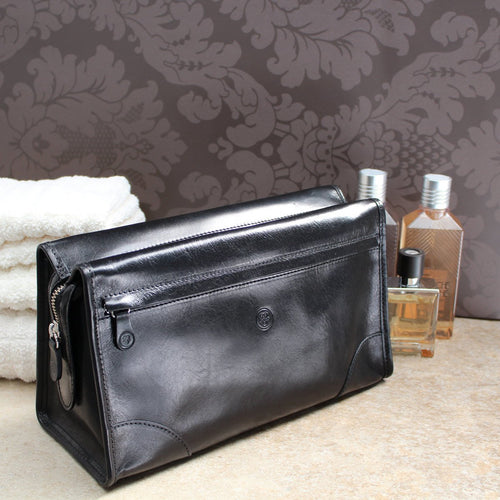 Wash Bag - Large Leather Travel Wash Bag