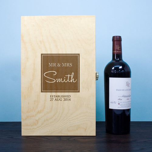 Wine Box - Mr & Mrs Couple - Personalised Double Wine Box