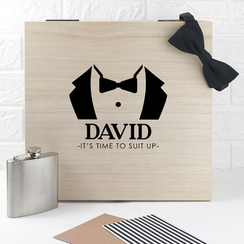 Wooden Box - Suit Up Wooden Wedding Gift Box