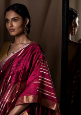 Burgundy Chanderi Silk Sari Jaamdani from the collection Lines