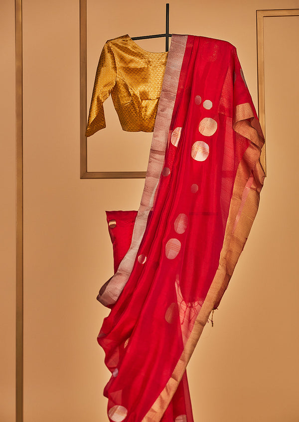 Raani Pink Chanderi Jaamdani Sari from our collection Lines