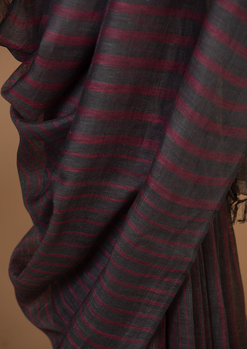 Grey Stripe Linen Sari