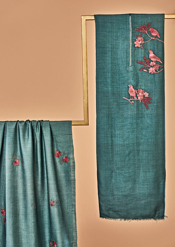 Teal Blue Moonga Silk Unstitched Suit Set with Hand Embroidery
