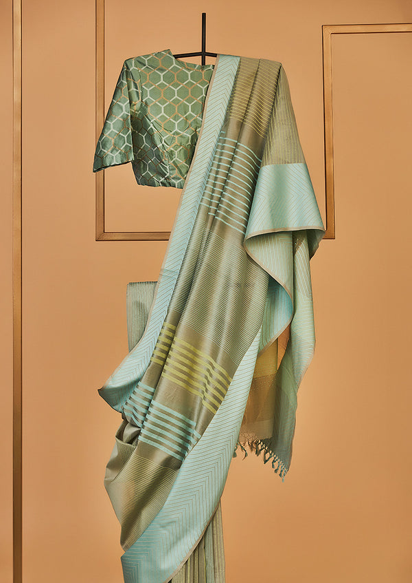 Chanderi Block Printed Olive Green Sari  from our collection Lakeerein