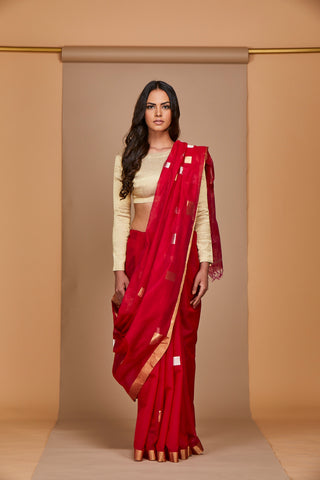 Red-Raani Chanderi Jaamdani Sari