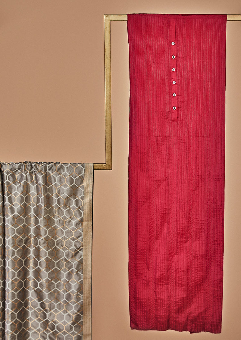 Fuschia Pink Silk Unstitched Suit Set with Banarasi Dupatta