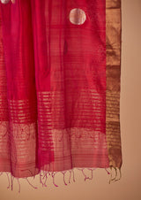 "Rani Pink Chanderi Jaamdani Dupatta from our collection ""Lines"""