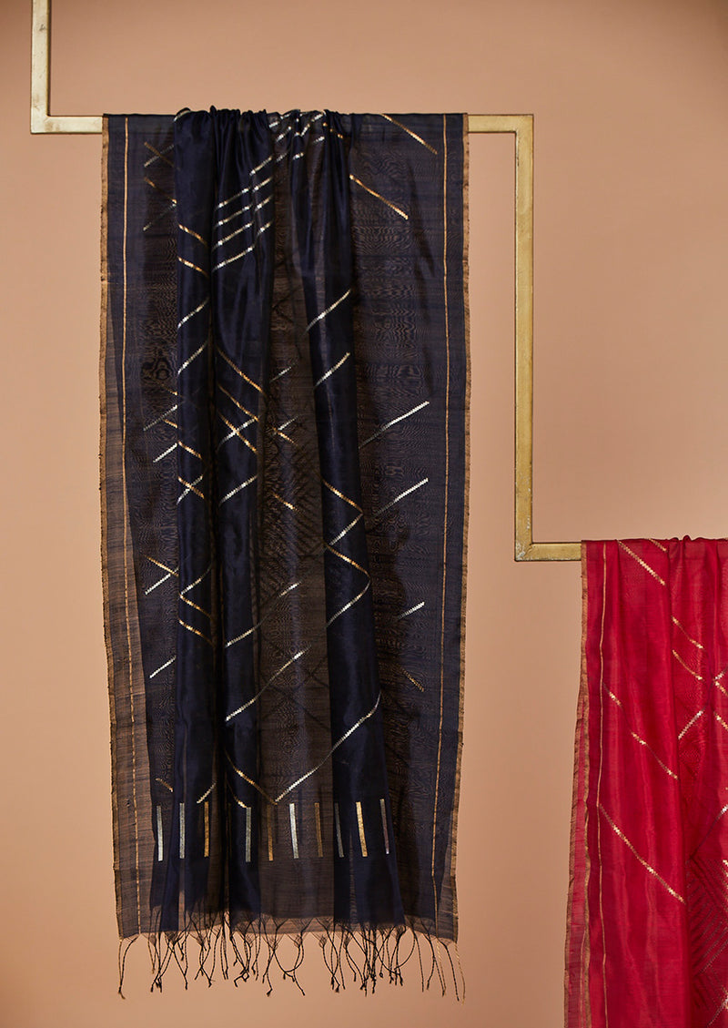 "Navy Chanderi Jaamdani Dupatta from our collection ""Lines"""