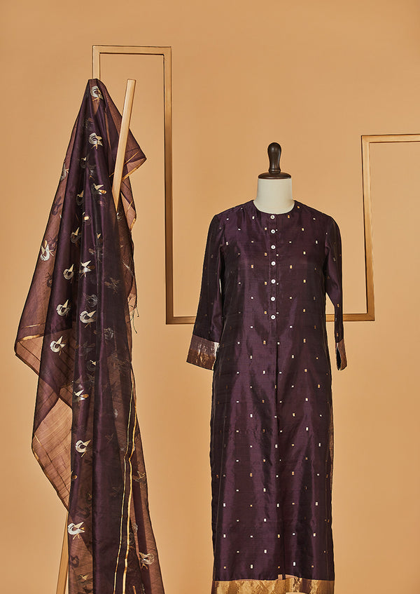 Chanderi Silk Wine Kurta with Jaamdani Dupatta & Pants