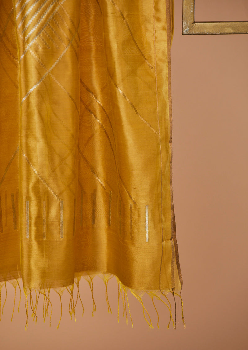 "Yellow Chanderi Jaamdani Dupatta from our collection ""Lines"""
