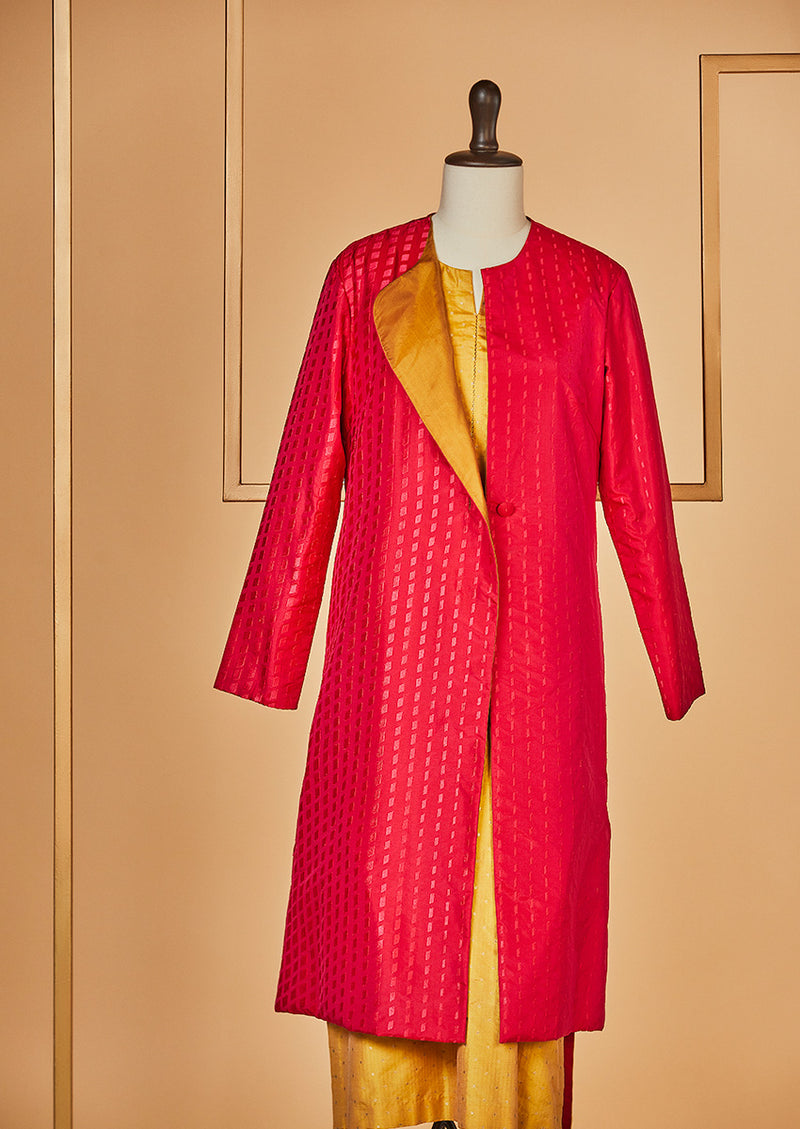 Silk Embroidered Raani Pink Jacket with Mustard Kurta and Pants