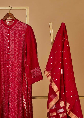 Chanderi Cotton Semistitched Suit set
