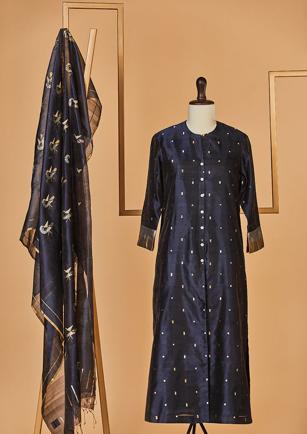 Chanderi Silk Navy Kurta with Jaamdani Dupatta & Pants