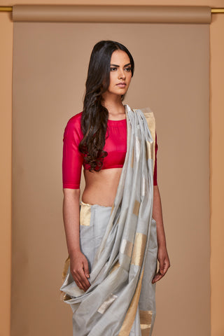 Powder Grey Chanderi Jaamdani Sari