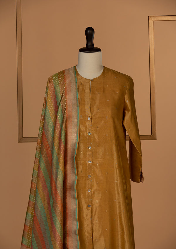 Chanderi Silk Mustard Kurta with Banarasi Dupatta & Pants