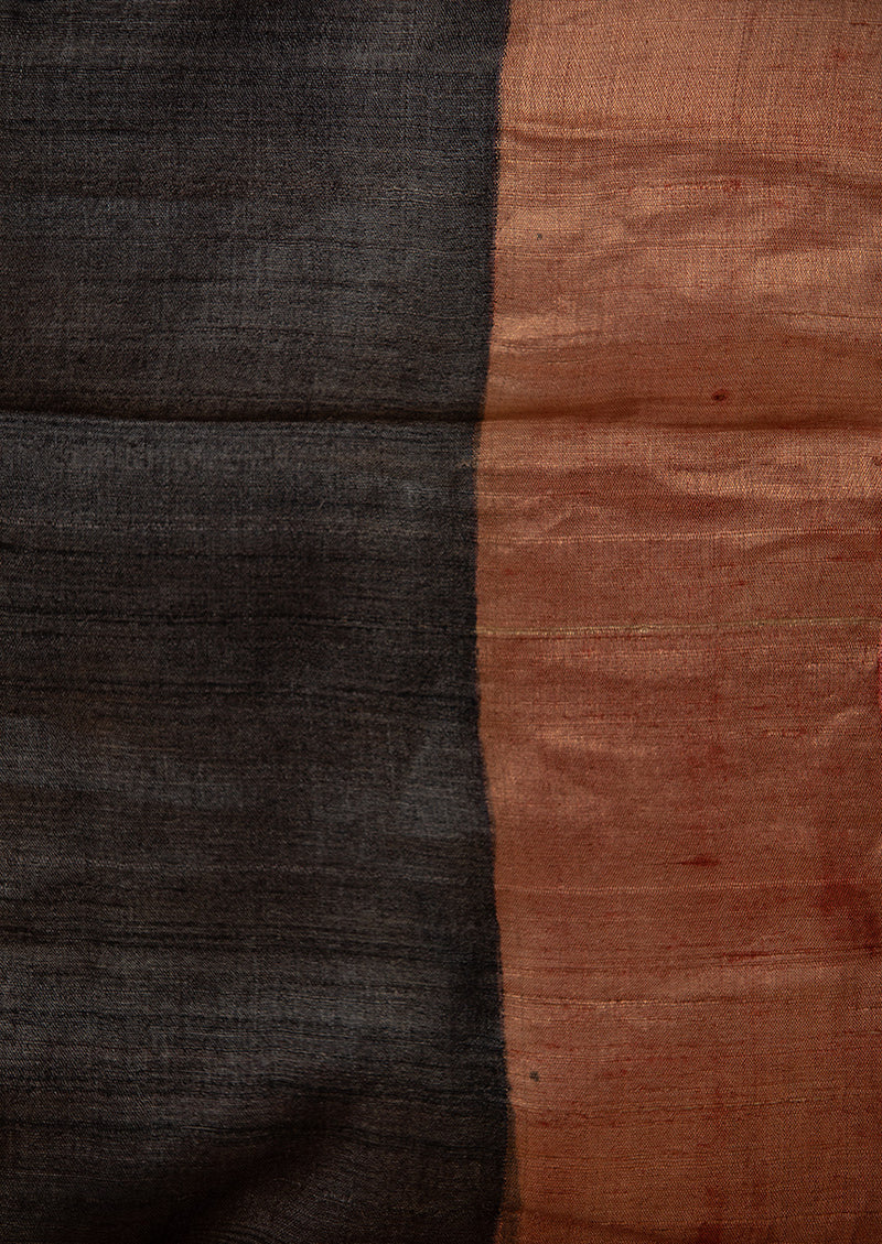 Dark Grey Tassar Handpainted Sari, from our collection Kalam