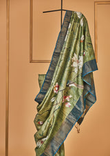 Olive Green Tassar Handpainted Sari, from our collection Kalam