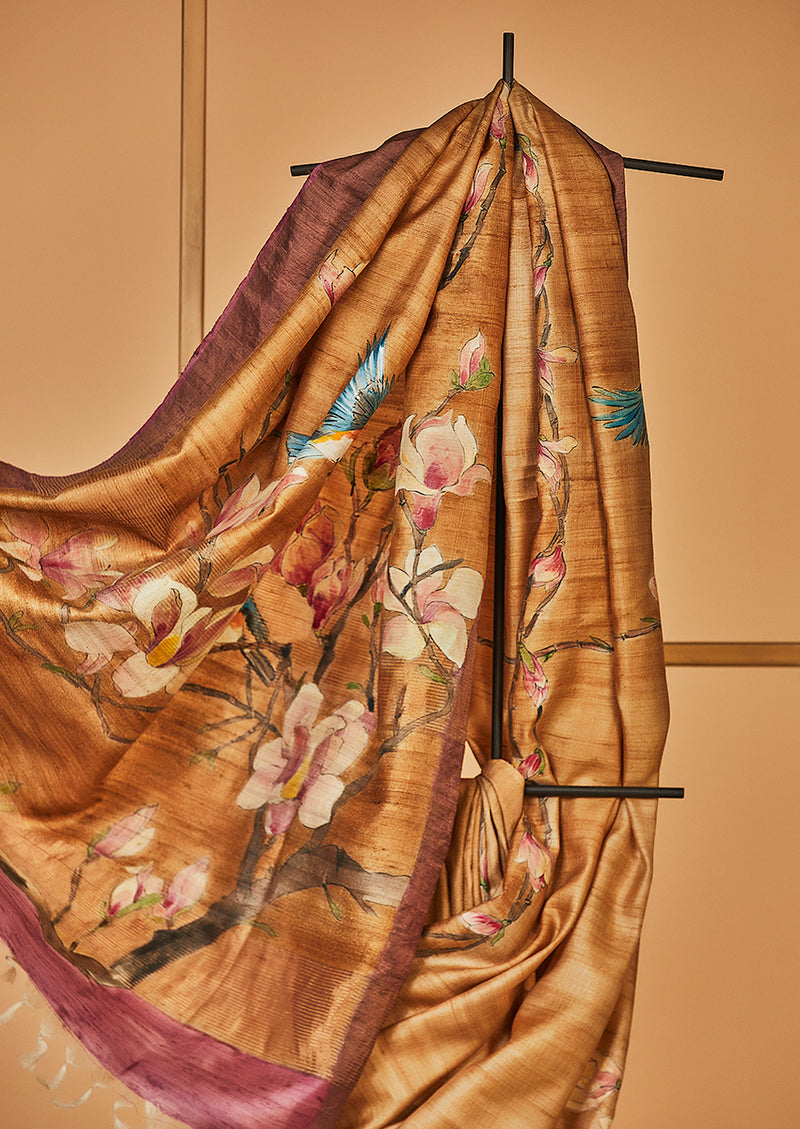 Light Brown Tassar Handpainted Sari, from our collection Kalam