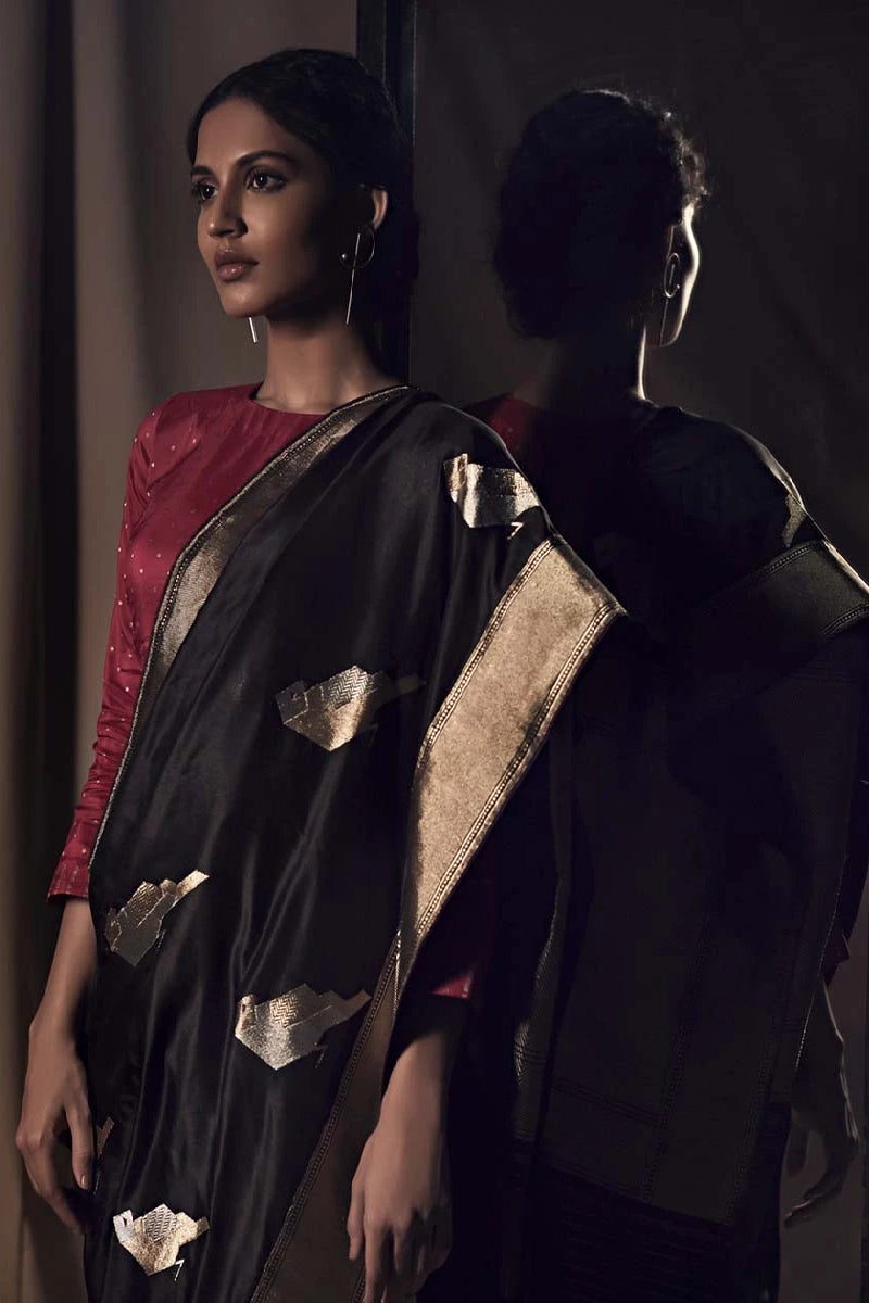 Black Banarasi Silk Sari  from our Origami collection