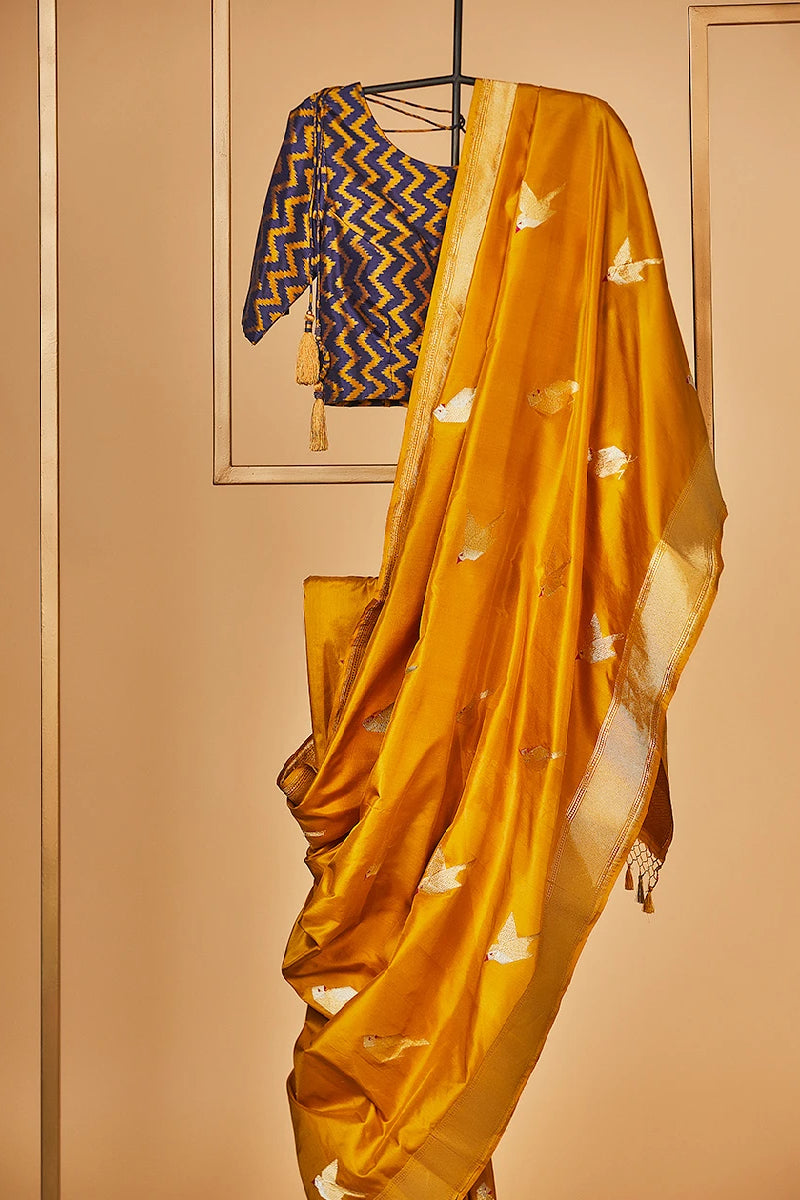 Mustard Yellow  Banarasi Silk Sari  from our Origami collection
