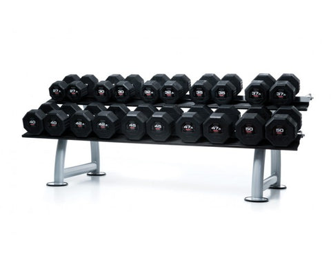 EODB1002R 27.5-40kg Octagon Rubber Dumbbell Set with ESC1 Rack - Completely Fitness