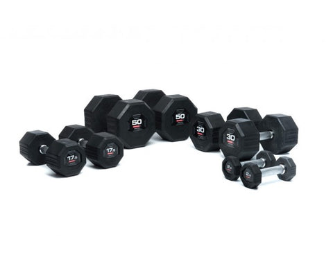 EODB1001R 2.5-25kg Octagon Rubber Dumbbell Set ESC1RACK - Completely Fitness