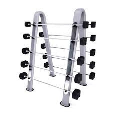 Set of 10 Jordan Ignite Rubber Barbells with oval rack