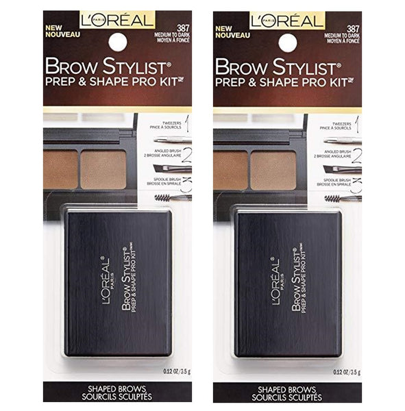 Pack of 2 L'Oreal Paris Brow Stylist Prep & Shape Pro Kit, Medium to Dark (387)