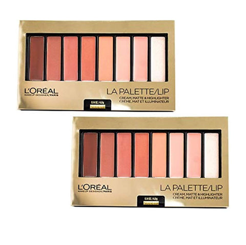 Pack of 2 L'Oreal Paris La Palette Lip Cream, Matte & Highlighter, Nude 03