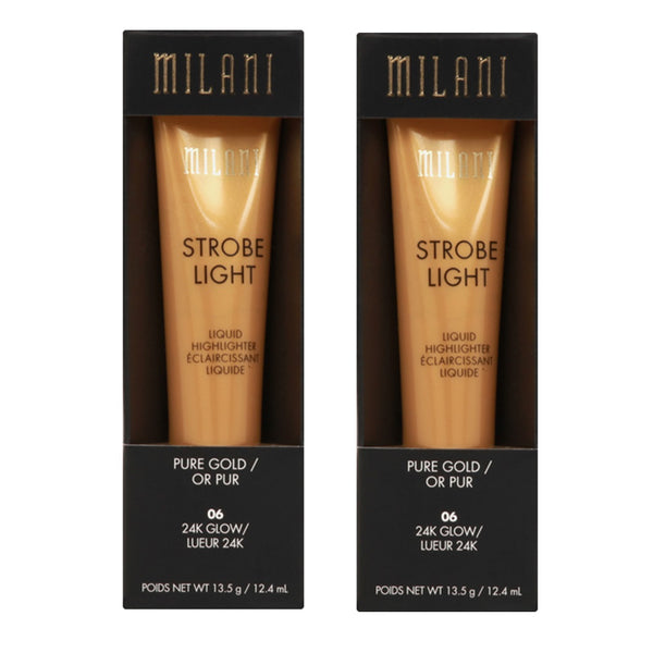 Pack of 2 Milani Strobe Light Liquid Highlighter, 24K Glow 06