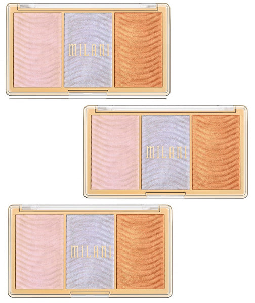 Pack of 3 Milani Stellar Lights Highlighter Palette, Holographic Beams 02