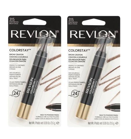 Pack of 2 Revlon Colorstay Brow Crayon, Dark Brown (315)