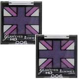 Pack of 2 Rimmel London Glam Eyes HD Quad Eye Shadow, Purple Reign 006