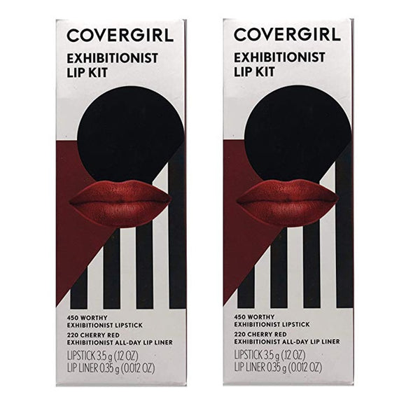 Pack of 2 CoverGirl Exhibitionist Lip Kit, 450 Worthy / 220 Cherry Red