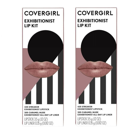 Pack of 2 CoverGirl Exhibitionist Lip Kit, 435 Streaker / 205 Caramel Nude